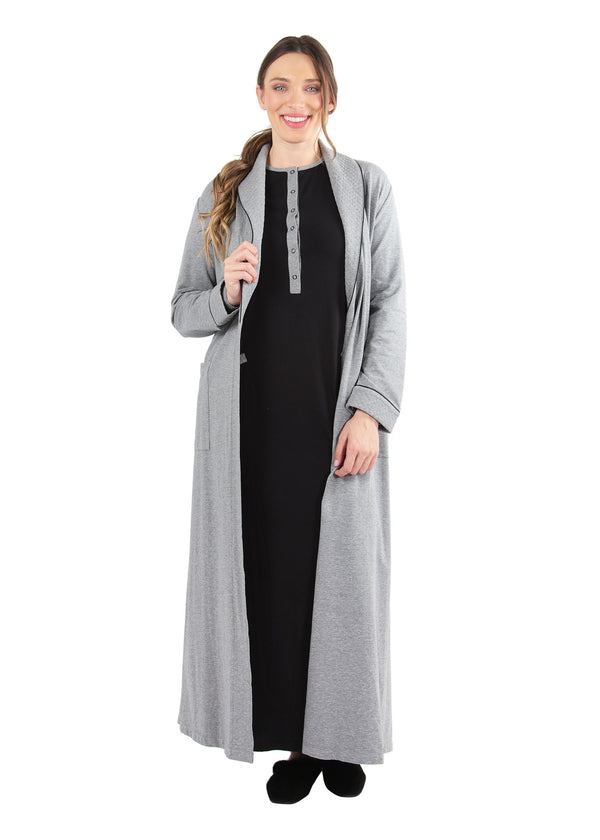 Quilted Robe | MeMoi womens sleepwear collection | robes for Women | womens clothing |  Gray Heather CCRX04454 -2