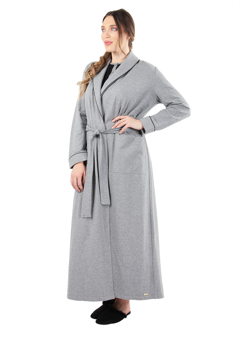 Quilted Robe | MeMoi womens sleepwear collection | robes for Women | womens clothing |  Gray Heather CCRX04454 -3