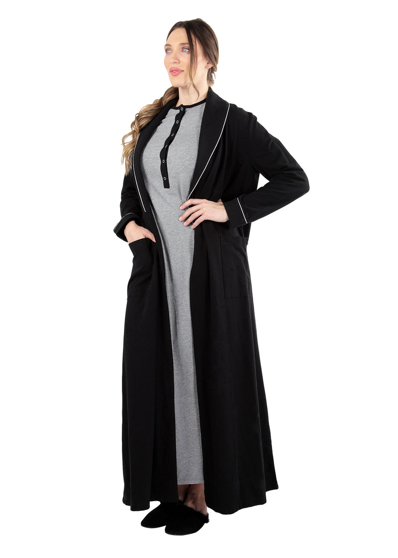 Quilted Robe | MeMoi womens sleepwear collection | robes for Women | womens clothing |  Black CCRX04454 -2