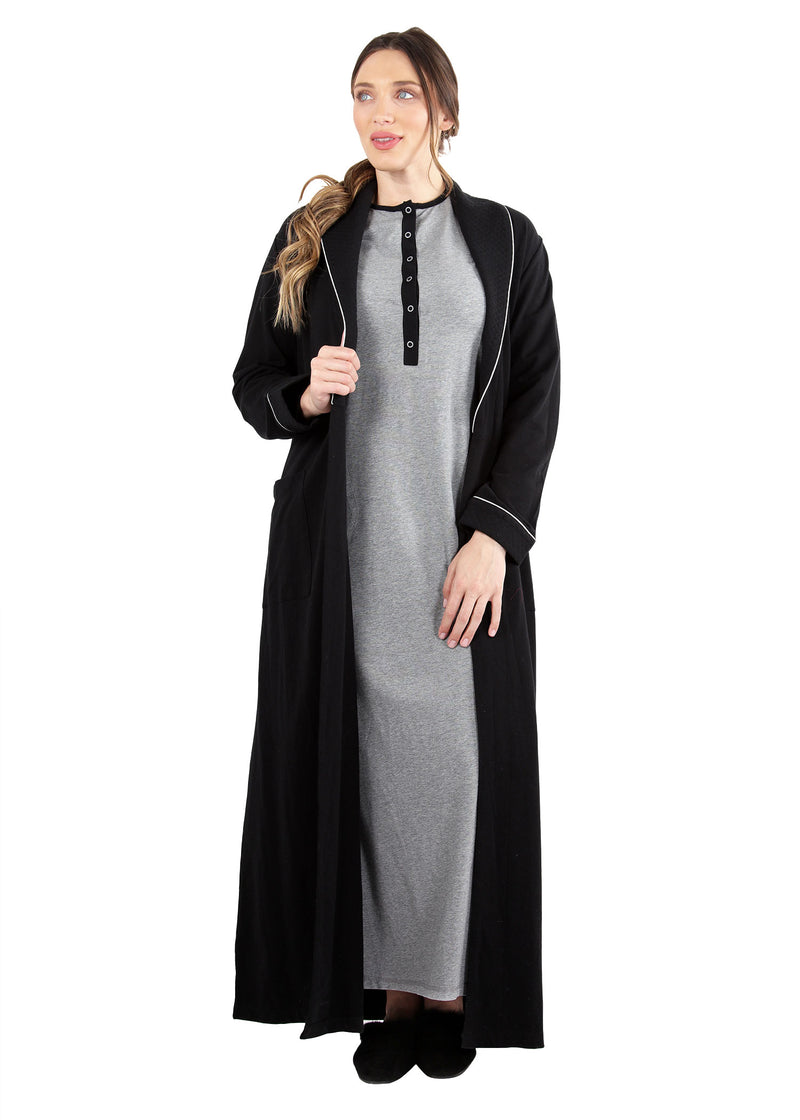 Quilted Robe | MeMoi womens sleepwear collection | robes for Women | womens clothing |  Black CCRX04454