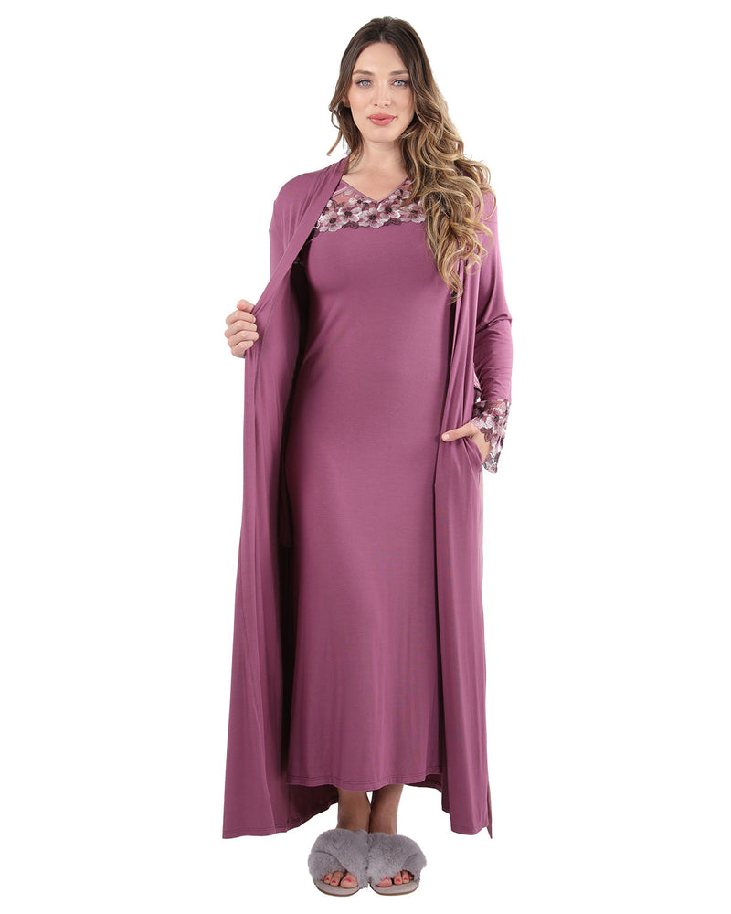 Enchanted Romance Embroidered Full Robe | Loungewear By MeMoi®  | CRX05246 | Tulipwood 1