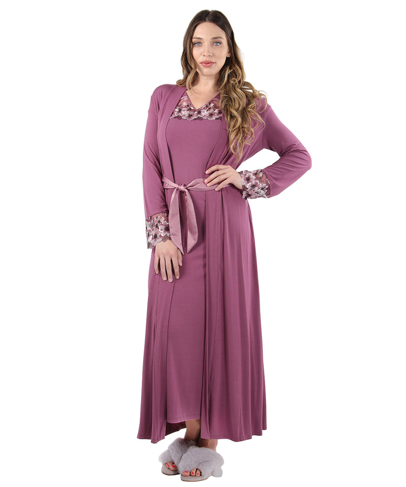 Enchanted Romance Embroidered Full Robe | Loungewear By MeMoi®  | CRX05246 | Tulipwood