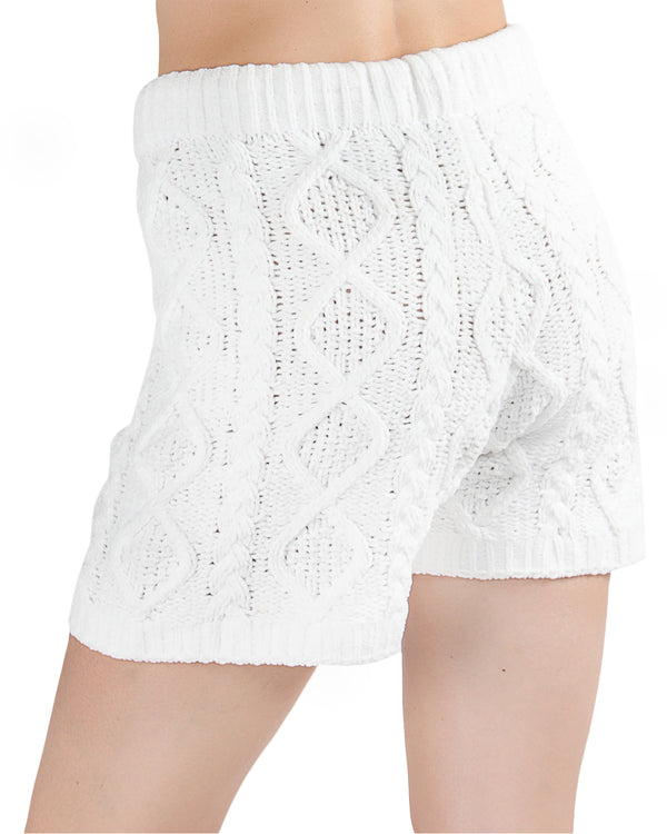LoungeLife Marshmallow Drawstring Shorts | Clothing By MeMoi®  | CSH05723 | White 1