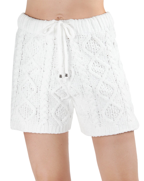 LoungeLife Marshmallow Drawstring Shorts | Clothing By MeMoi®  | CSH05723 | White