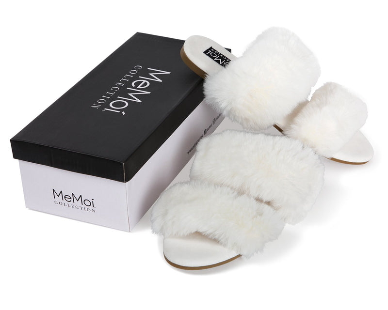 MeMoi Cardi Slippers | Women's Fuzzy Hard Sole Luxury Slippers | Winter White CSL00160
