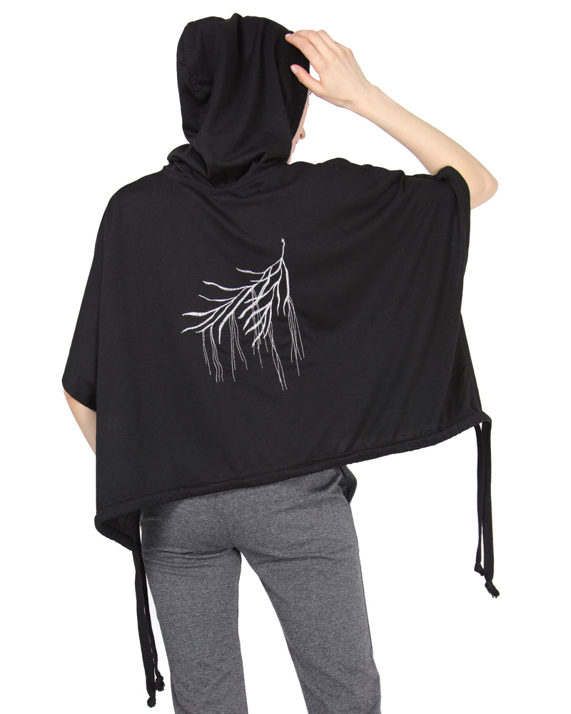MeMoi Hooded Cape w/ Tie Detail & Embroidery | Women's Loungewear Collection (Rear) | Designer - Asi Efros |  Limo Black CTL00041