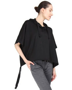 MeMoi Hooded Cape w/ Tie Detail & Embroidery | Women's Loungewear Collection (Front2) | Designer - Asi Efros |  Limo Black CTL00041
