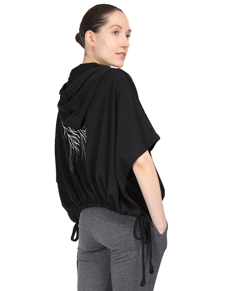 MeMoi Hooded Cape w/ Tie Detail & Embroidery | Women's Loungewear Collection (Side) | Designer - Asi Efros |  Limo Black CTL00041