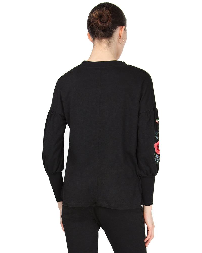 MeMoi Oversized Lounge Dropped Sleeve Top W/ Ribbed Cuff and Embroidery | Women's Loungewear Collection (Rear) | Designer - Asi Efros |  Limo Black CTL00043