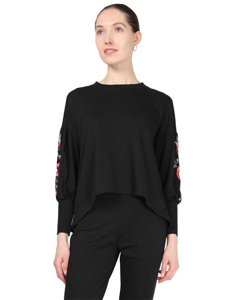MeMoi Oversized Lounge Dropped Sleeve Top W/ Ribbed Cuff and Embroidery | Women's Loungewear Collection (Front2) | Designer - Asi Efros |  Limo Black CTL00043