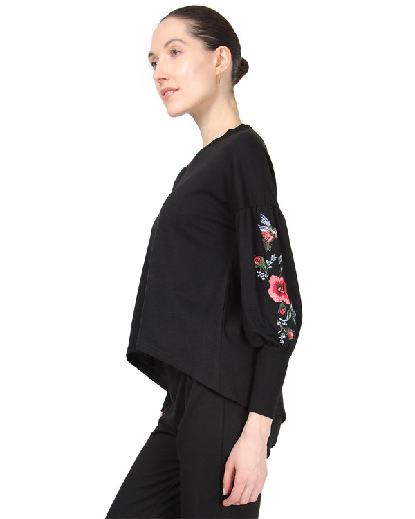 MeMoi Oversized Lounge Dropped Sleeve Top W/ Ribbed Cuff and Embroidery | Women's Loungewear Collection (Side) | Designer - Asi Efros |  Limo Black CTL00043