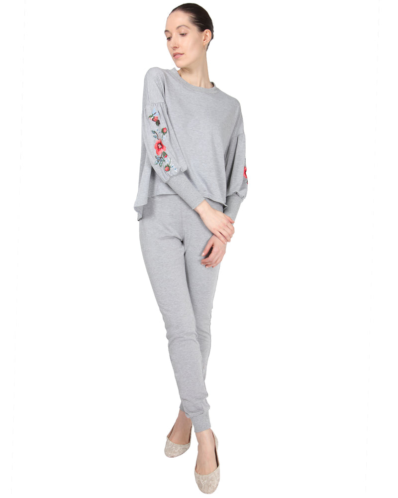 MeMoi Oversized Lounge Dropped Sleeve Top W/ Ribbed Cuff and Embroidery | Women's Loungewear Collection (Front) | Designer - Asi Efros |  Gray Heather CTL00043