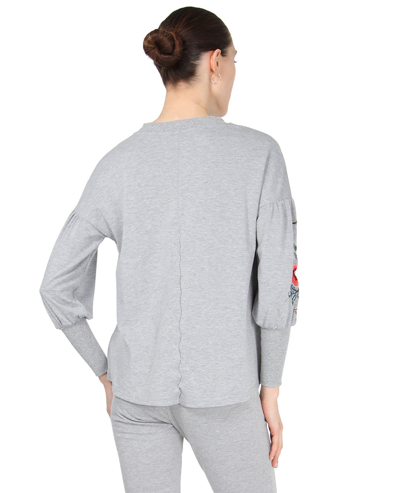 MeMoi Oversized Lounge Dropped Sleeve Top W/ Ribbed Cuff and Embroidery | Women's Loungewear Collection (Rear) | Designer - Asi Efros |  Gray Heather CTL00043