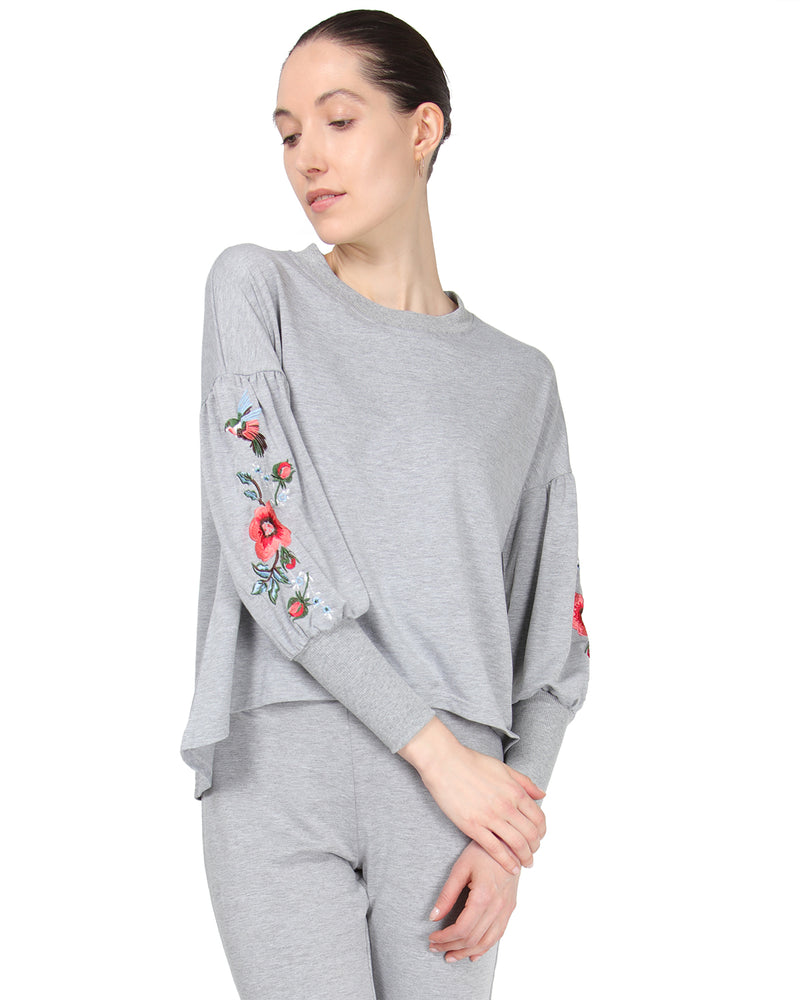 MeMoi Oversized Lounge Dropped Sleeve Top W/ Ribbed Cuff and Embroidery | Women's Loungewear Collection (Front2) | Designer - Asi Efros |  Gray Heather CTL00043