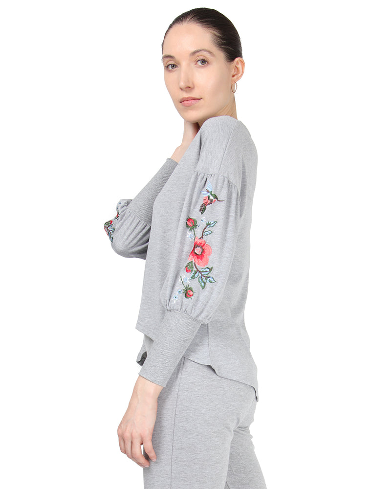 MeMoi Oversized Lounge Dropped Sleeve Top W/ Ribbed Cuff and Embroidery | Women's Loungewear Collection (Side) | Designer - Asi Efros |  Gray Heather CTL00043