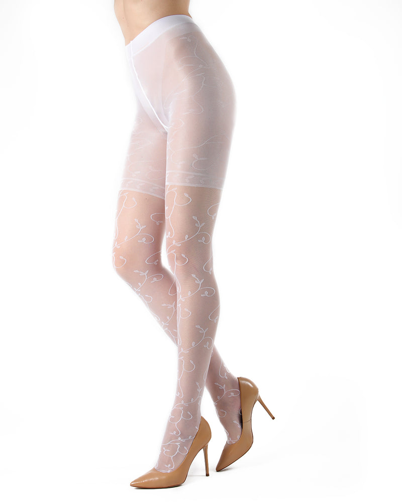 Divine Sheer Vine Pantyhose | MeMoi Womens Tights Collection | Womens Lingerie/Bridal | Bianco ETS05266 -2