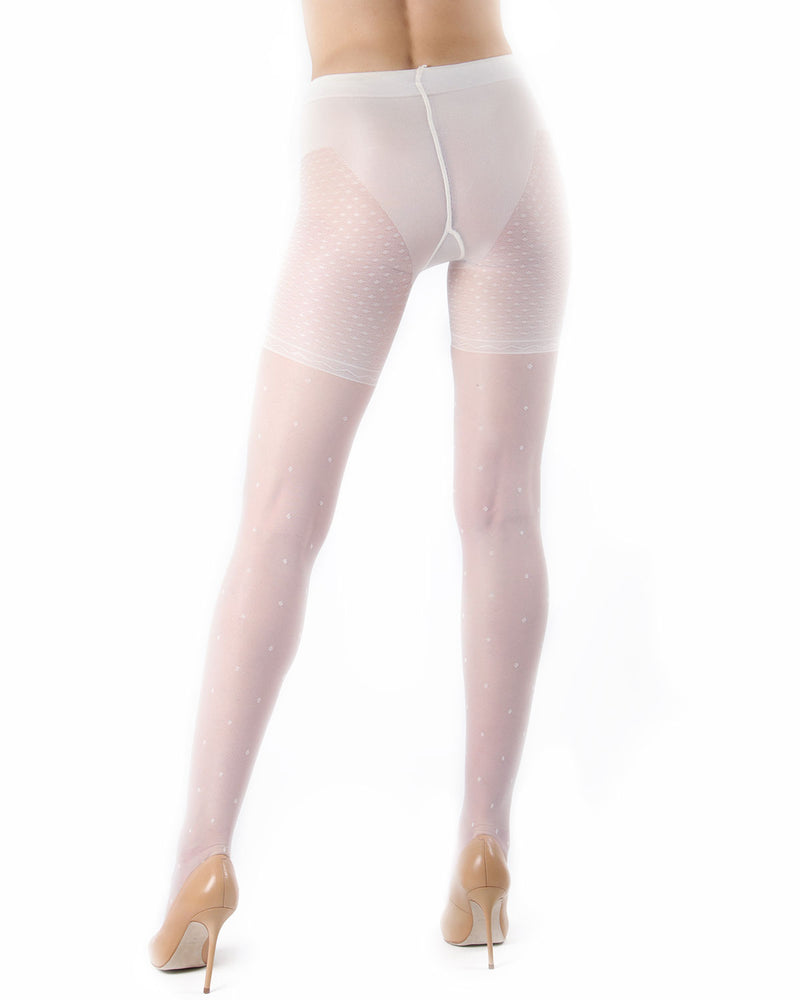 Elegance Sheer Control Top Pantyhose with All Over Dots
