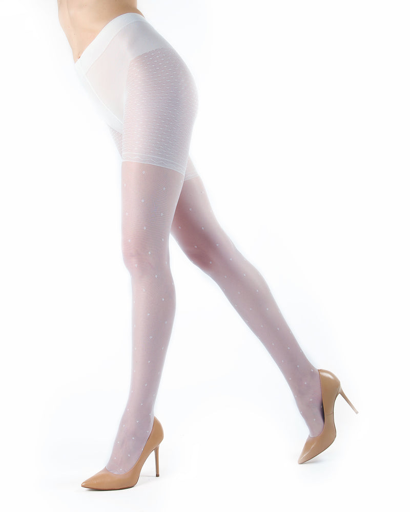 Elegance Sheer Allover Dot Pantyhose | MeMoi Womens Tights Collection | Womens Lingerie/Bridal |  Bianco ETS05267 -2