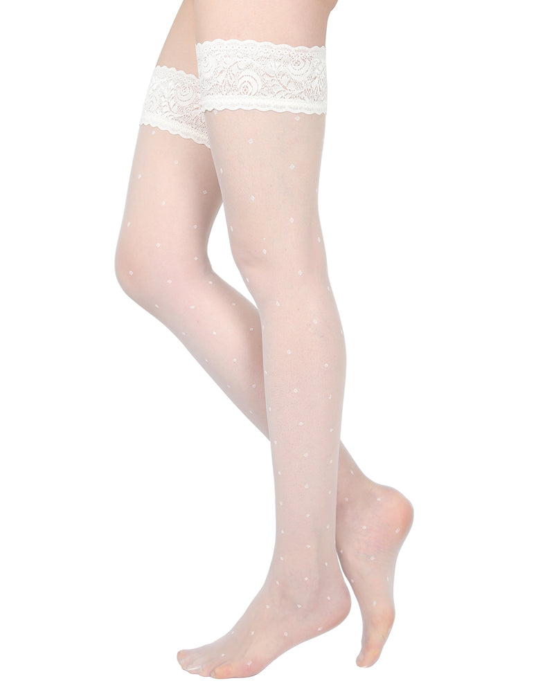 Elegance Sheer Allover Dot Thigh High Stockings | MeMoi Womens Tights Collection | Womens Lingerie/Bridal |  Panna EXS05268 -3