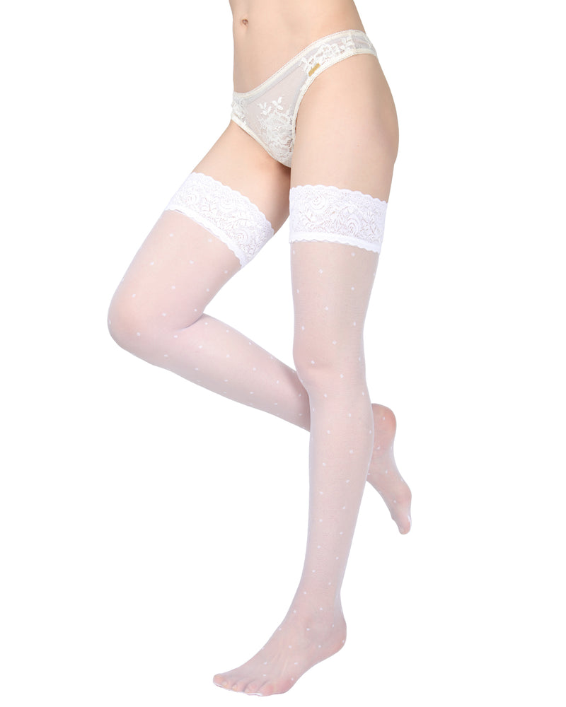 Elegance Sheer Allover Dot Thigh High Stockings | MeMoi Womens Tights Collection | Womens Lingerie/Bridal |  Bianco EXS05268