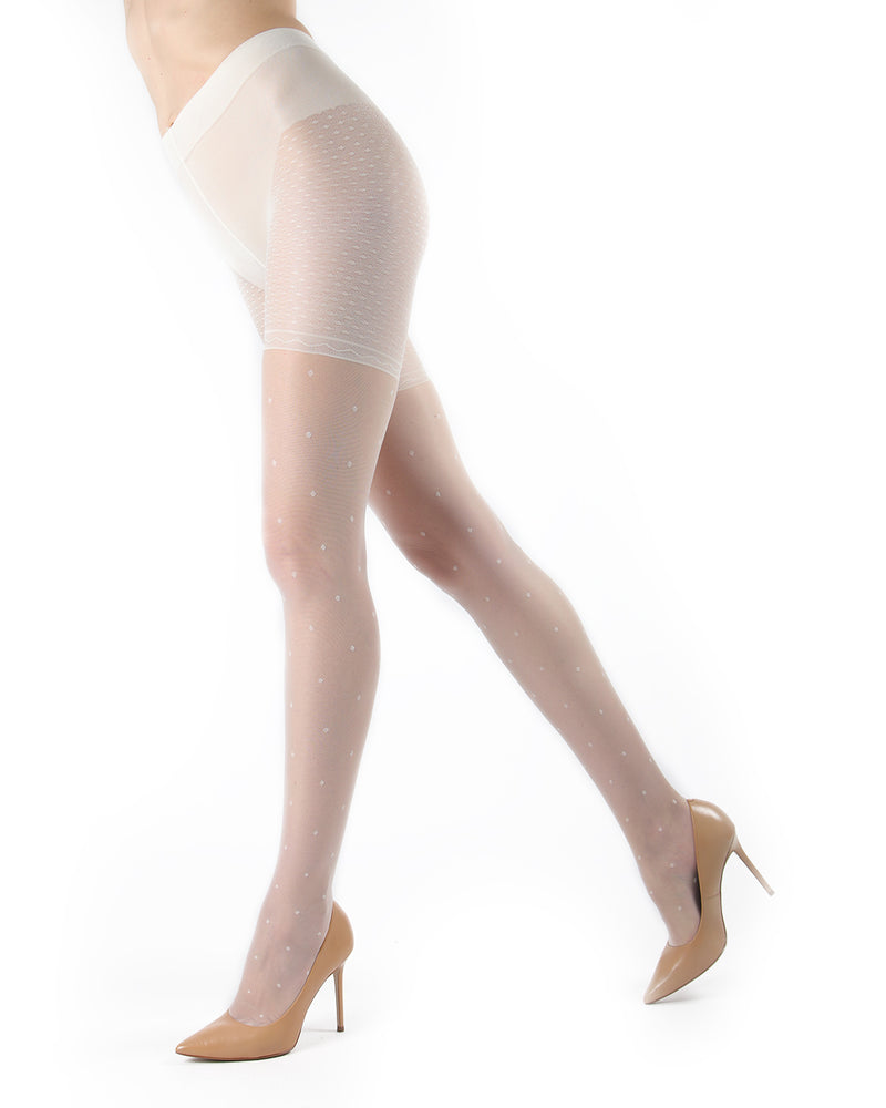 Elegance Sheer Allover Dot Pantyhose | MeMoi Womens Tights Collection | Womens Lingerie/Bridal |  Panna ETS05267 -5
