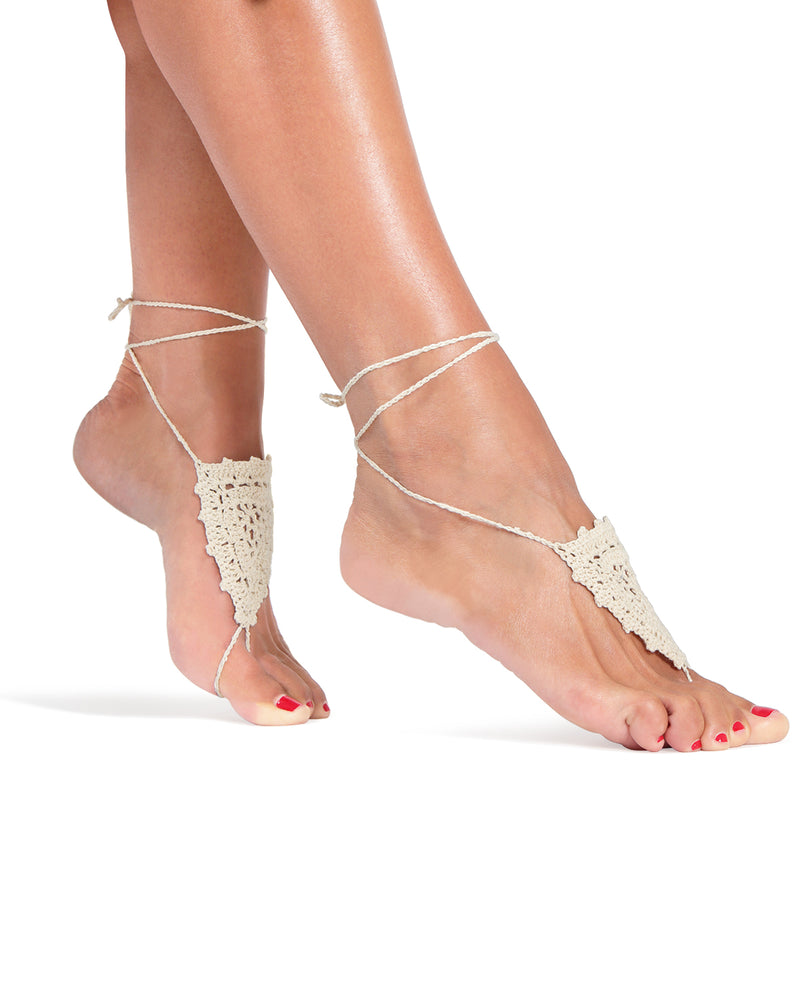 Shield Of Lace Crochet Barefoot Sandals