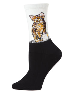 Kitten Limited Edition Art Crew Socks | womens novelty socks by MeMoi | Womens clothing | LCV05536-06018-9-11 light gray -1