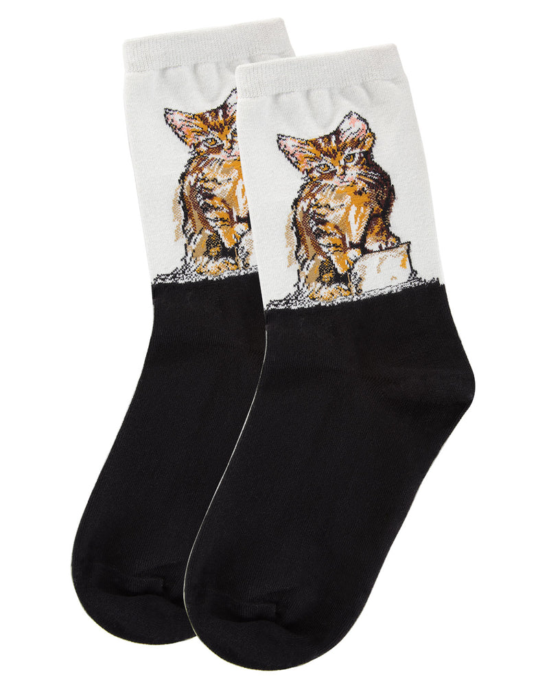 Kitten Limited Edition Art Crew Socks | womens novelty socks by MeMoi | Womens clothing | LCV05536-06018-9-11 light gray -3