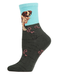 Saint Bernard Limited Edition Art Crew Socks | womens novelty socks by MeMoi | Womens clothing | LCV05542-40000-9-11 blue -1