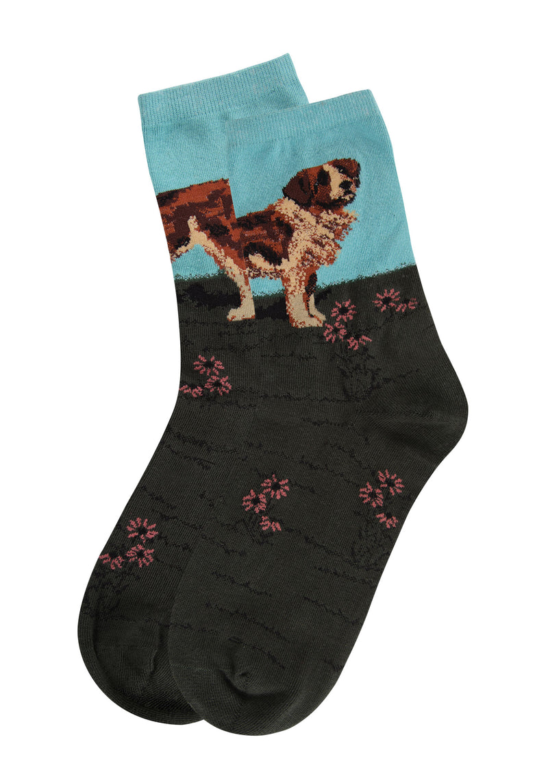 Saint Bernard Limited Edition Art Crew Socks | womens novelty socks by MeMoi | Womens clothing | LCV05542-40000-9-11 blue -4
