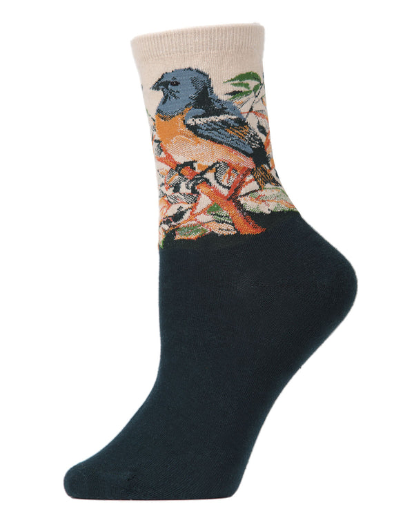 Bird Limited Edition Art Crew Socks | womens novelty socks by MeMoi | Womens clothing | LCV05545-25109-9-11 taupe -1
