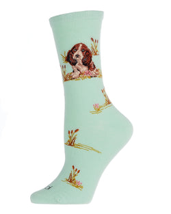 Beagle Limited Edition Crew | Womens Novelty Socks by MeMoi | Womens clothing | LCV06219 Mint -1