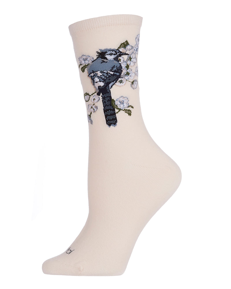 Blue Bird Limited Edition Crew | Womens Novelty Socks by MeMoi | Womens clothing | LCV06221 Blush Pink -1