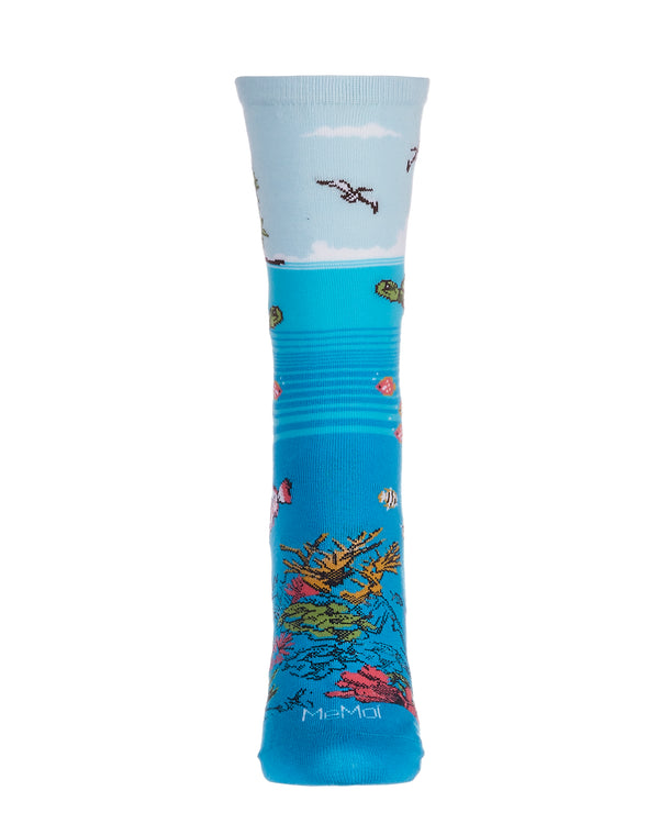 Coral Reef Limited Edition Crew Sock | Novelty Socks by MeMoi | Womens clothing | LCV06222 Ocean Depth -2