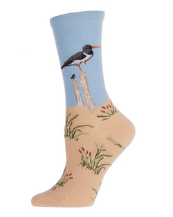 Seagulls Limited Edition Crew Sock | Novelty Socks by MeMoi | Womens clothing | LCV06223 Beige -1