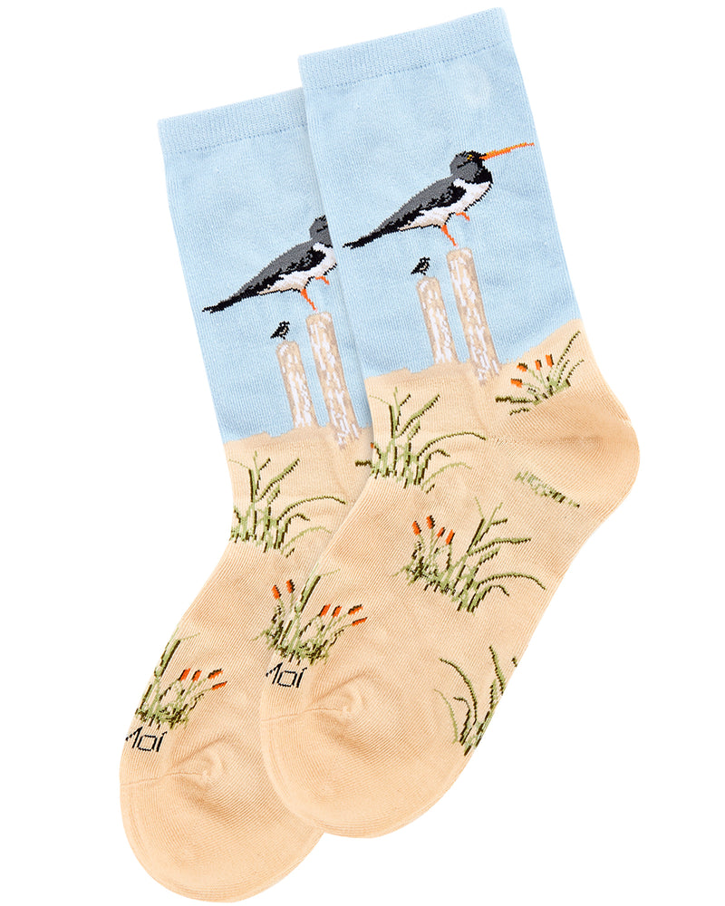 Seagulls Limited Edition Crew Sock | Novelty Socks by MeMoi | Womens clothing | LCV06223 Beige -3