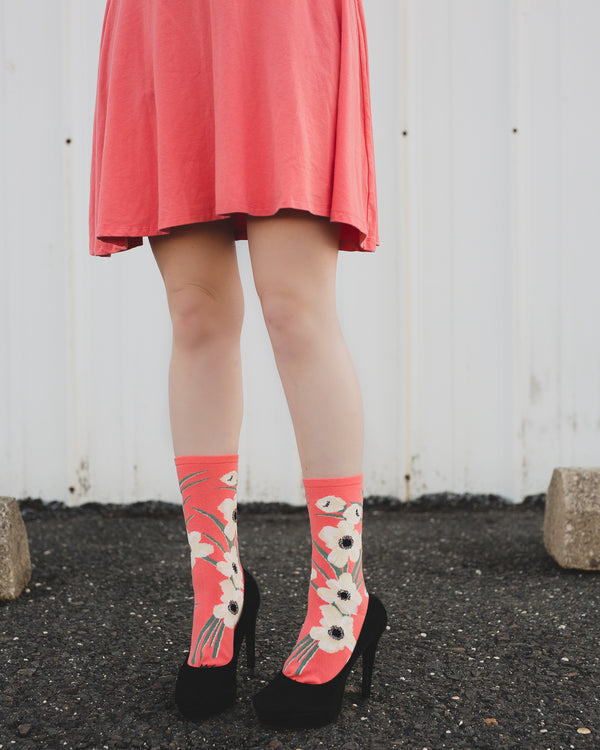 Magnolia Limited Edition Crew Sock | Novelty Socks by MeMoi | Womens clothing | Peach - Lifestyle