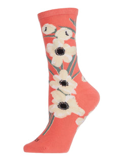 Magnolia Limited Edition Crew Sock | Novelty Socks by MeMoi | Womens clothing | Peach -1