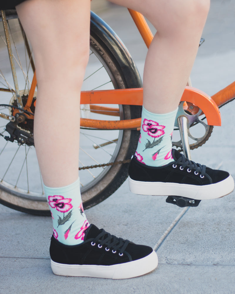 Pansy Limited Edition Crew Sock | Novelty Socks by MeMoi® | Womens clothing | Light Blue LCV06225 - Lifestyle