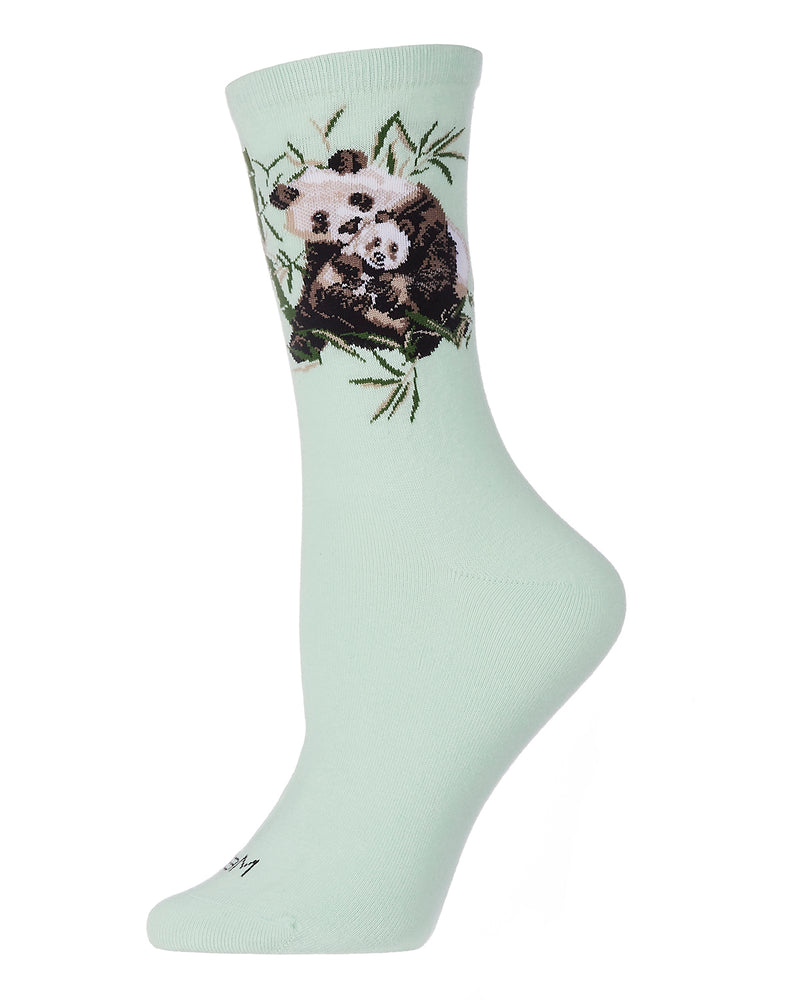 Panda Limited Edition Crew Sock | Novelty Socks by MeMoi® | Womens clothing | Mint LCV06226 -1
