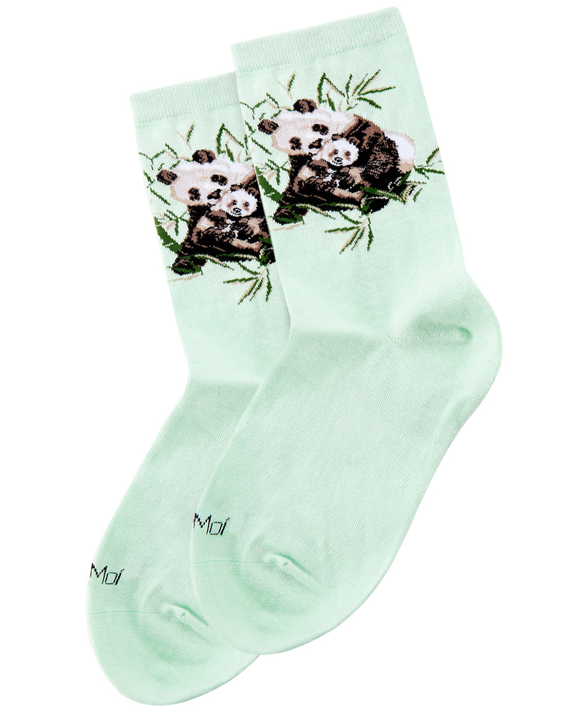 Panda Limited Edition Crew Sock | Novelty Socks by MeMoi® | Womens clothing | Mint LCV06226 -3