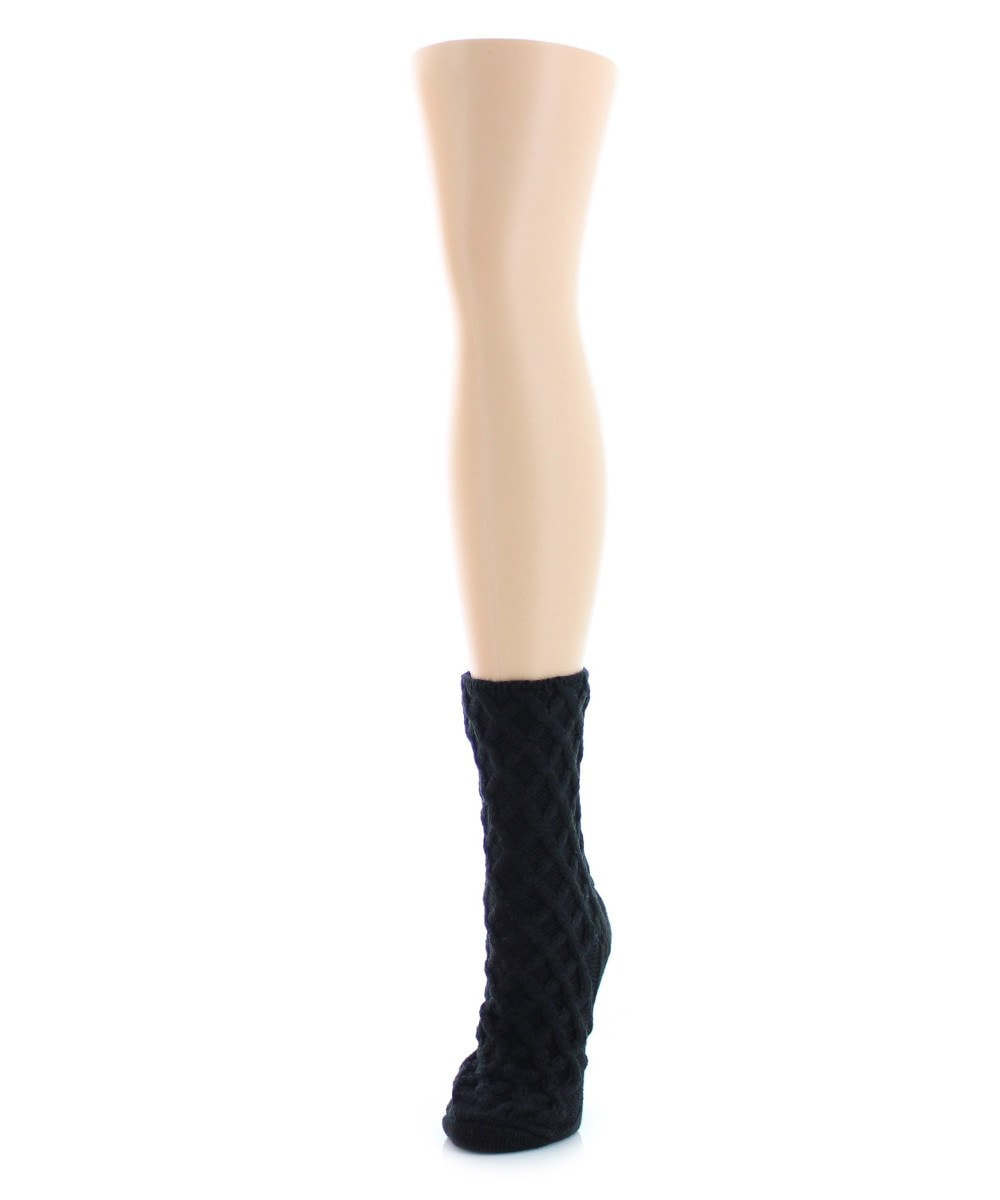 Diamond Cross Chunky Knit Boot Sock - MeMoi - 1