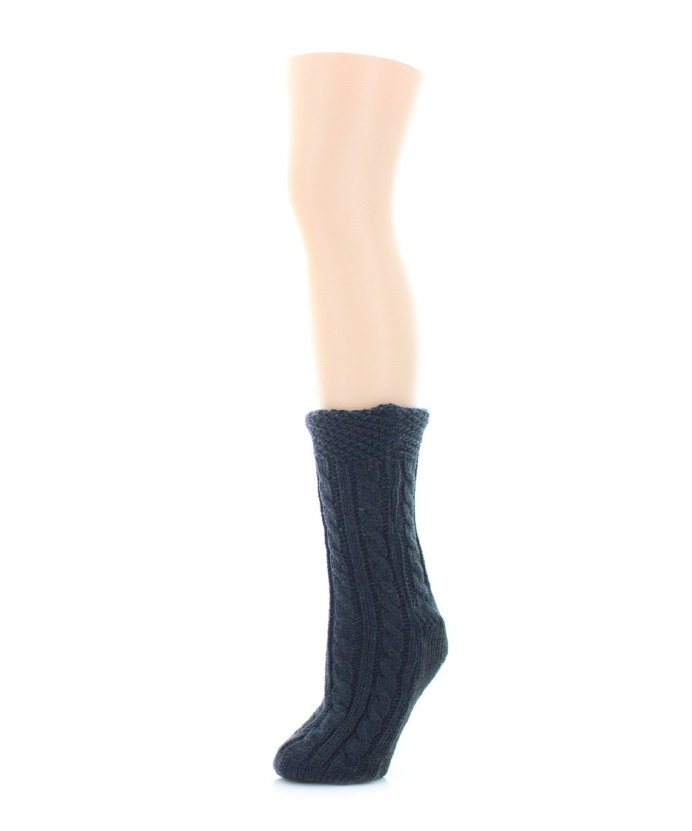 Floral Cross Sherpa Lined Lounge Sock - MeMoi - 2