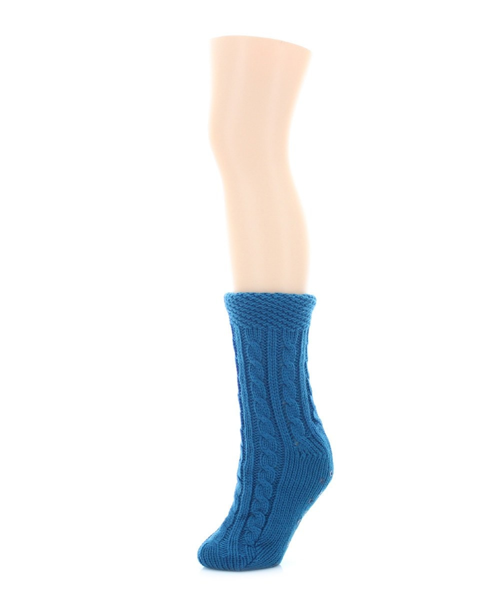 Floral Cross Sherpa Lined Lounge Sock - MeMoi - 3