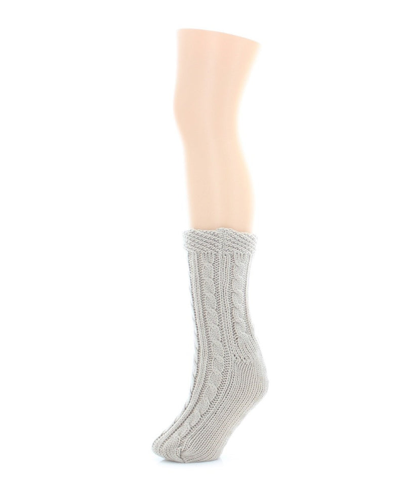 Floral Cross Sherpa Lined Lounge Sock - MeMoi - 4