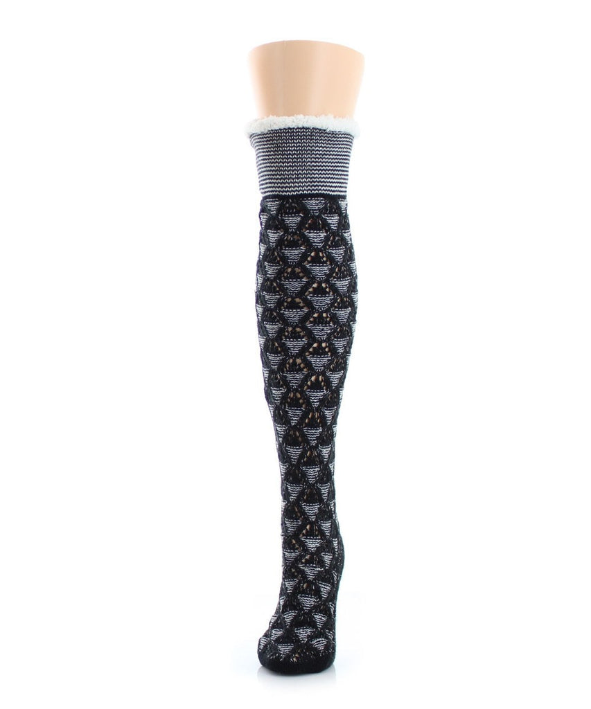 Mini Diamond Sherpa Lined Knee Length Lounge Sock - MeMoi - 1