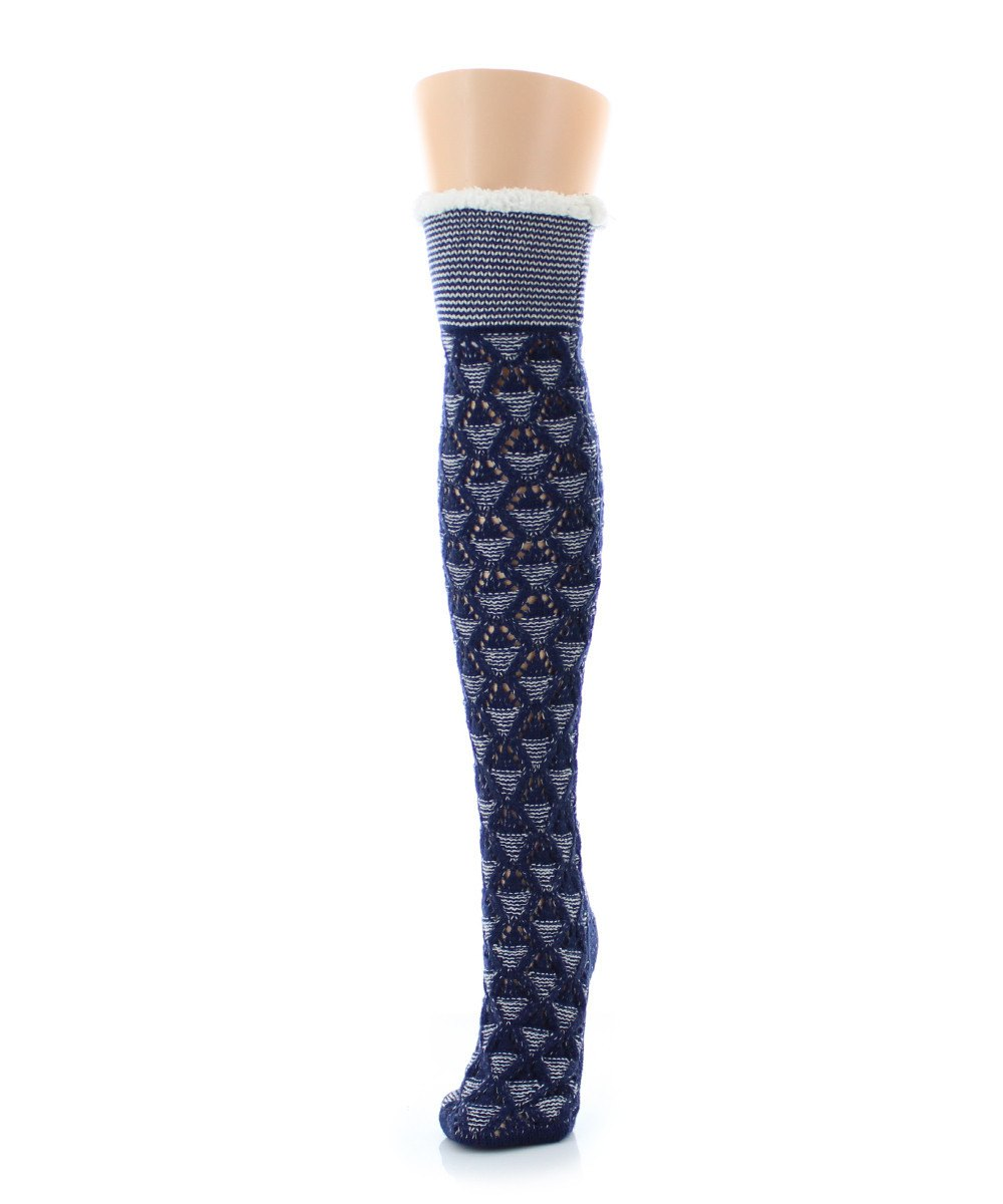 Mini Diamond Sherpa Lined Knee Length Lounge Sock - MeMoi - 2