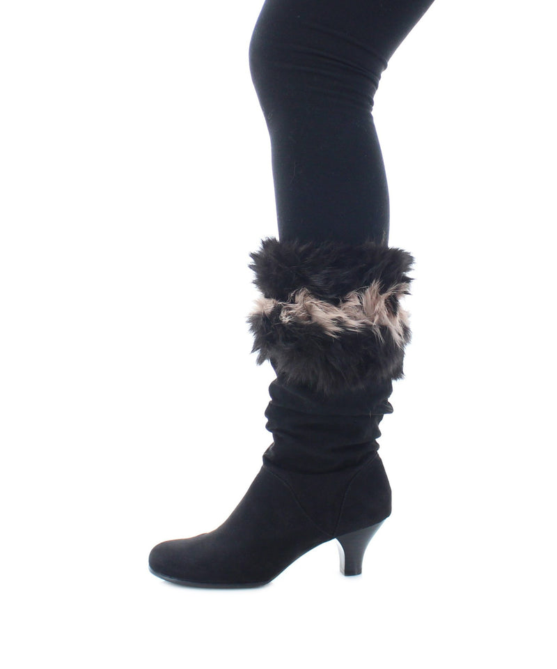 Legmogue Rupin Striped Rabbit Fur Boot Toppers