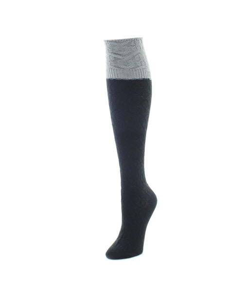Interlocking Crochet Knee High Women's Socks
