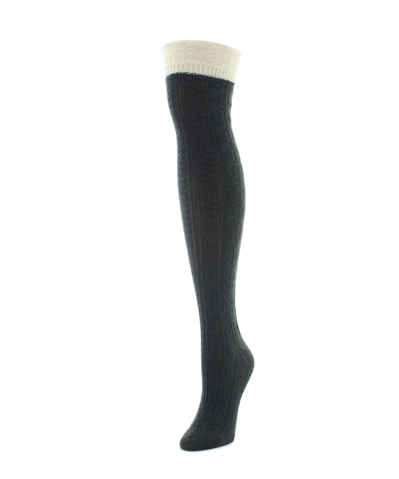 Legmogue Dot and Braid Over The Knee Women's Socks